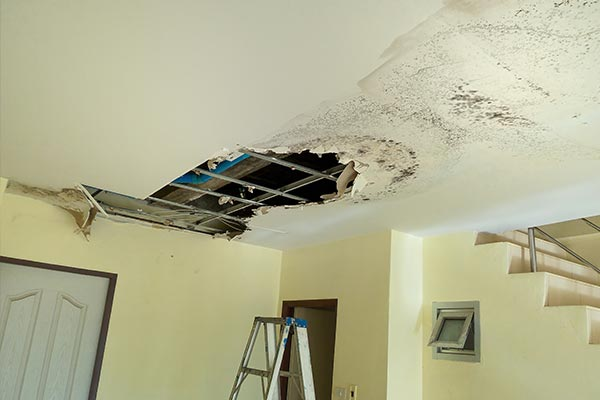 Hole in ceiling from water and mold